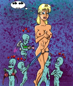 Some aliens prepare to enjoy a young blonde.